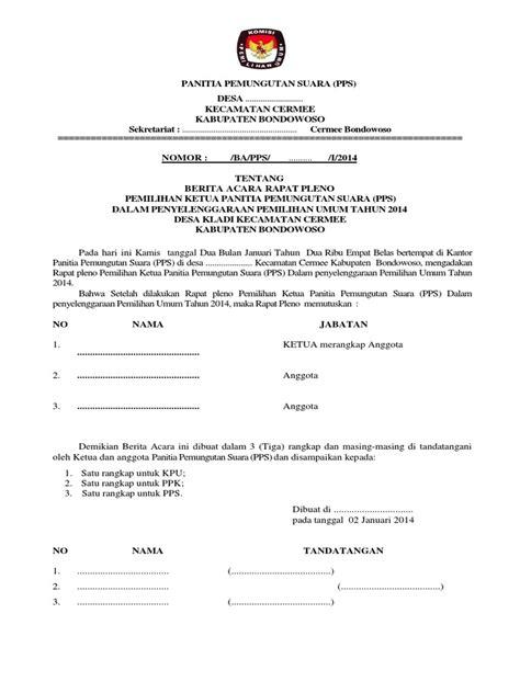 Contoh Surat Hasil Rapat Dan Berita Acara by Contoh Berita Acara Rapat Pleno Druckerzubehr 77
