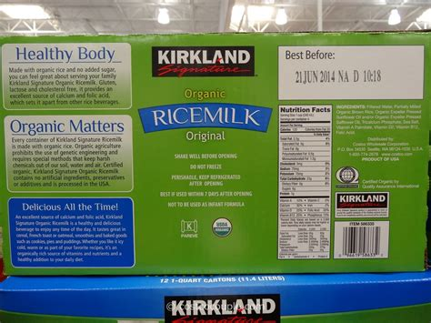 costco kirkland milk kirkland signature organic rice milk
