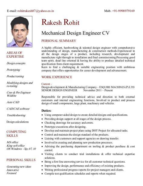 design engineer profile summary cv of mechanical design engineer