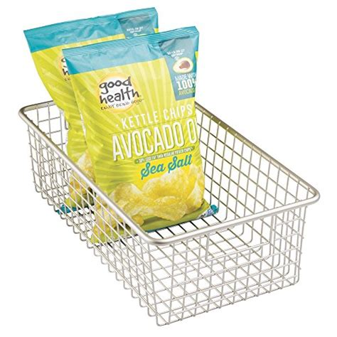 mdesign household wire storage basket with handles for