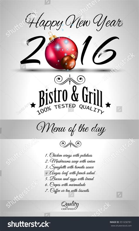 new year restaurant 2016 happy new year restaurant menu stock vector 351658781