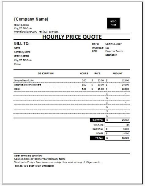 Hourly Price Quotation Template For Excel Excel Templates Price Quote Template