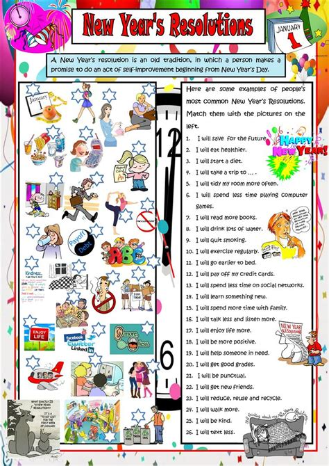 new year activities for esl students new year s resolutions worksheet free esl printable