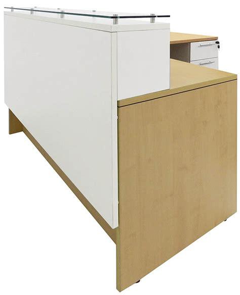 Emerge Glass Top L Shaped Reception Desk W Drawers Led L Shaped Glass Desk With Drawers