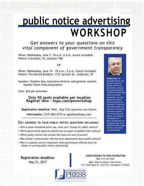 put experience to work for hspa hoosier state press association 2017 public notice advertising workshop hoosier state