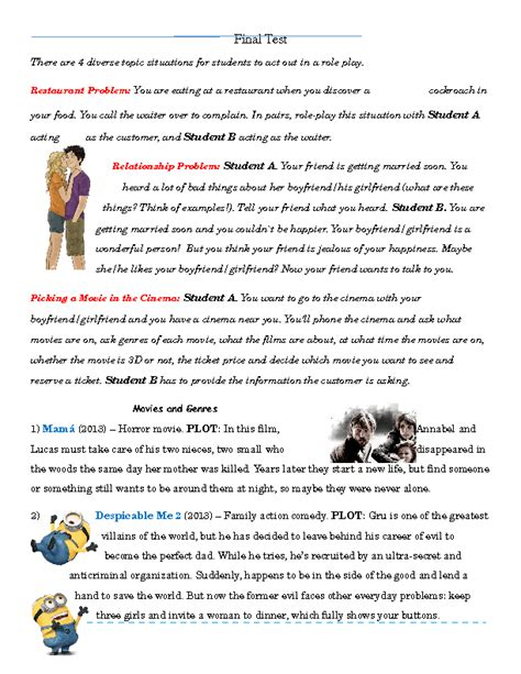 themes for english skit role play for esl learners great role plays for esl