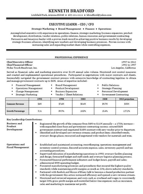 Cfo Resume by Ceo Cfo Executive Resume Exle Resume Exles