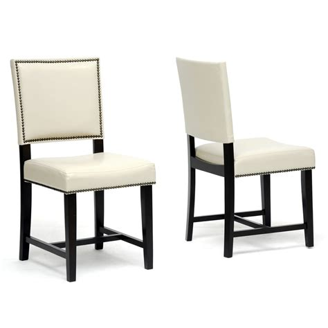 restaurant dining room chairs baxton studio nottingham cream faux leather modern dining
