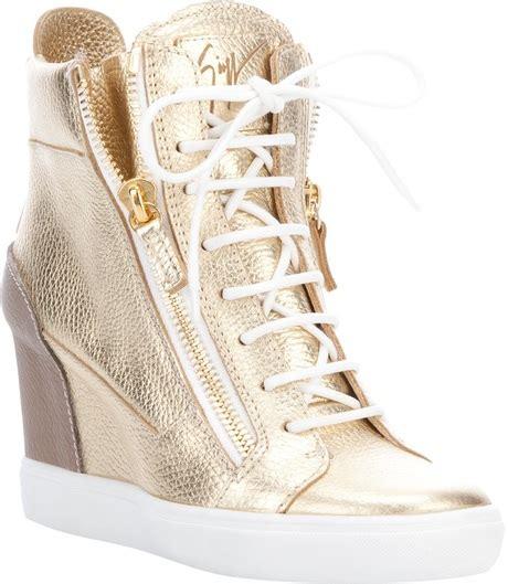 gold high heel sneakers heels giuseppe zanotti gold wedge hi top trainers