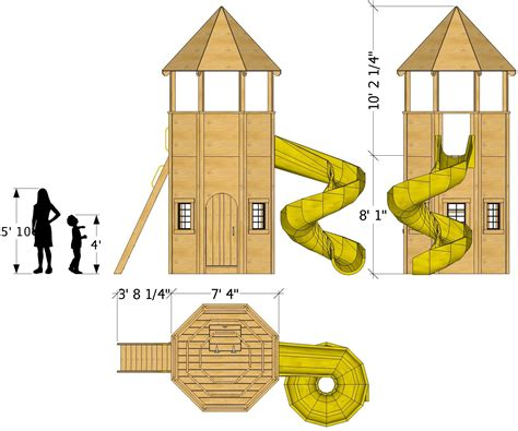 rapunzels tower playhouse plan  kids ft