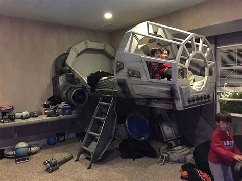 starwars bed father builds his son a star wars millennium falcon bed