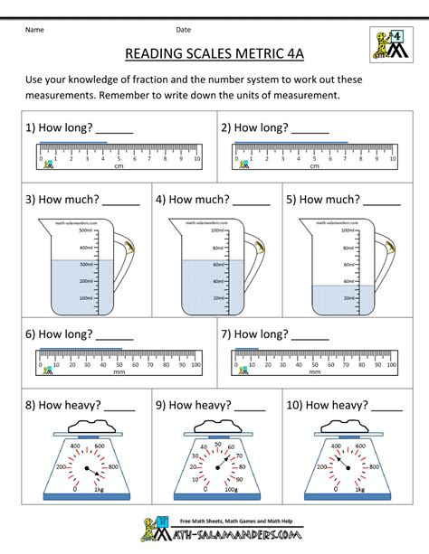 Worksheets For Maths Grade 4 by 4th Grade Measurement Worksheets