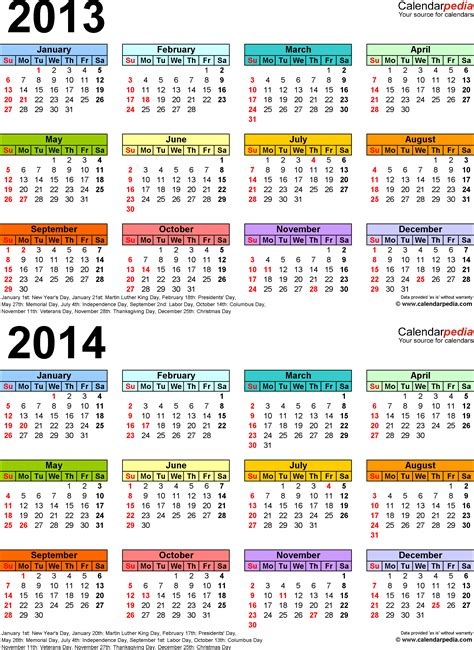 2 Year Calendar 2013 2014 Calendar Free Printable Two Year Excel Calendars