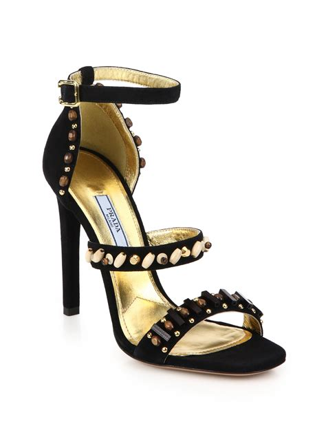 black prada sandals prada beaded suede sandals in black lyst