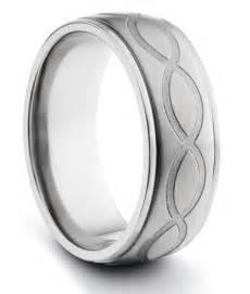 Mens Infinity Wedding Band 8mm Titanium Mens Brushed Wedding Band Ring W Engraved