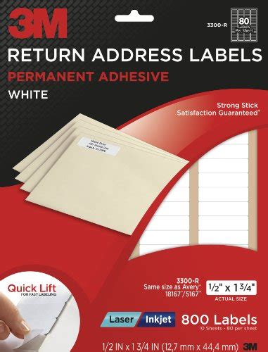 3m Return Address Labels White 1 2 Inch X 1 3 4 Inch 10 Sheets Per Pack 3300 R 800 Total 3m Address Label Template