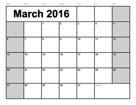 march 2016 calendar printable template 8 templates