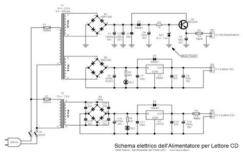 schema elettrico alimentatore lettore cd stereo 2x18 watt stereo lifier