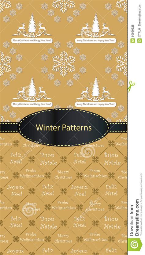 christmas tree new year pattern winter holiday pattern set stock vector image 60969528