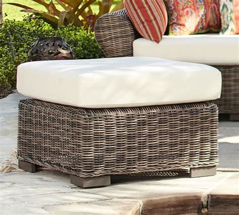 pottery barn wicker chair and ottoman huntington all weather wicker sectional ottoman pottery barn