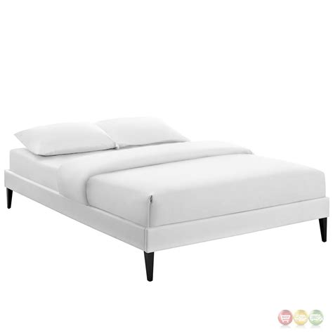 white platform bed frame sharon modern king vinyl platform bed frame with square