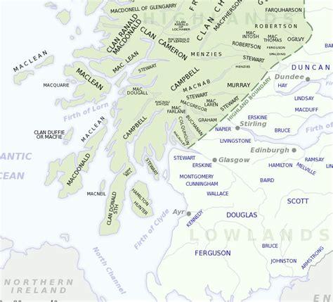 scottish names scottish clan map