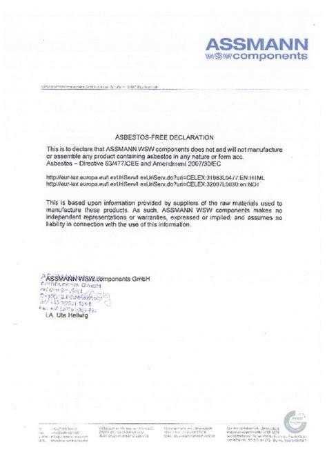 Asbestos Free Declaration Conflict Minerals Declaration Template
