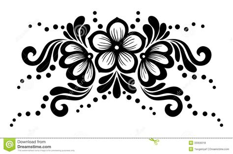 white design black and white lace flowers and leaves isolated on white