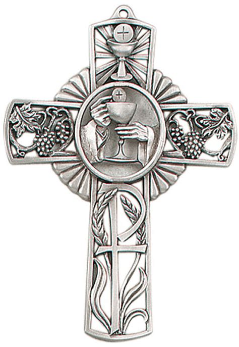 pewter first communion cross with chalice design
