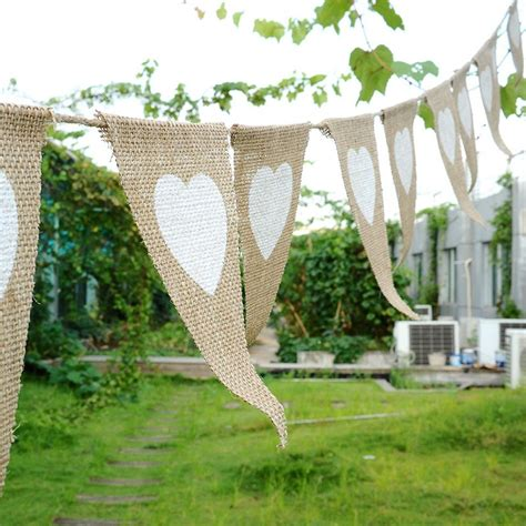 Outdoor Wedding Banner by Linen Triangular Flags Bunting Bridal Shower Banner