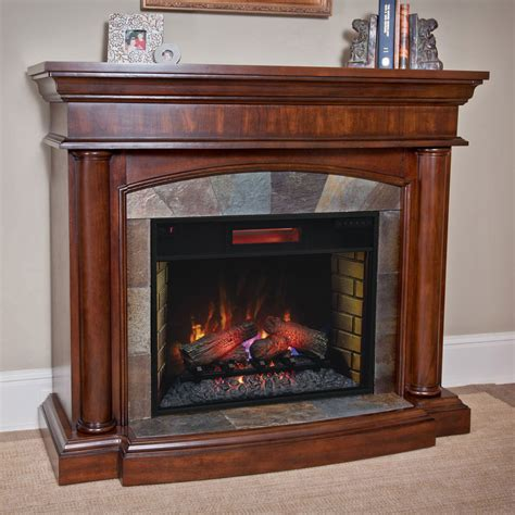 aspen infrared electric fireplace mantel package in