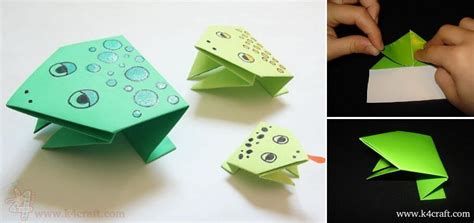 how to make a origami paper jumping frog k4 craft