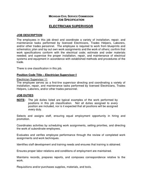 Electrician Duties by Electrician Duties Responsibilities Resume Resume Ideas
