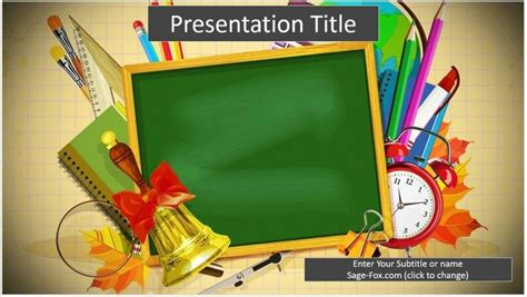 school supplies education powerpoint template free school supplies cartoon powerpoint template 6498