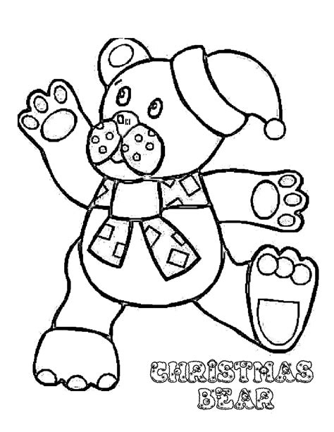 teddy bear coloring pages celebrate christmas kids