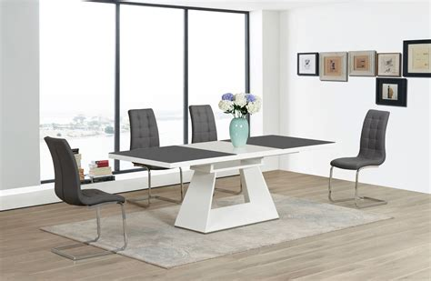 Dining Table White Gray Grey White Extending High Gloss Glass Dining Table And 6