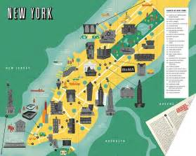 map of nyc with landmarks go on a sightseeing scavenger hunt with city scratch