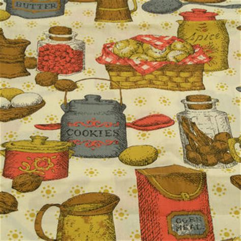 vintage kitchen curtain fabric cluttered from revvie1 on etsy