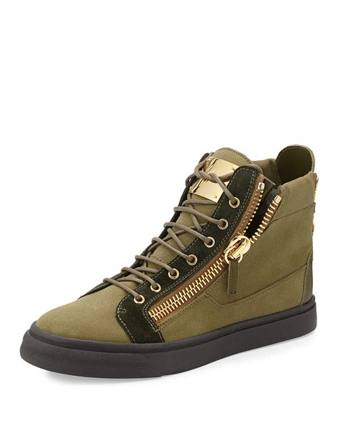 mens giuseppe sneakers giuseppe zanotti canvas high top sneaker in green for