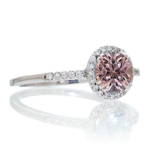1 5 carat cut morganite halo engagement ring for