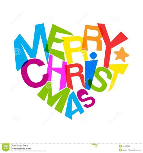 merry christmas bright colors heart shape typography stock