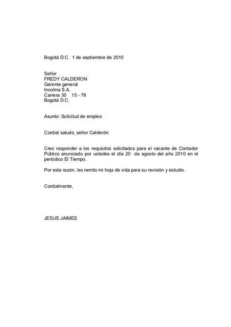 cartas profesionales solicitud de empleo