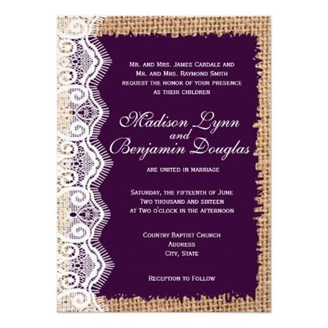 country style invitations rustic burlap lace purple wedding invitations for a