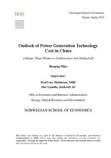 Master Thesis Pdf Mba by Outlook Of Power Generation Technology Cost In China A