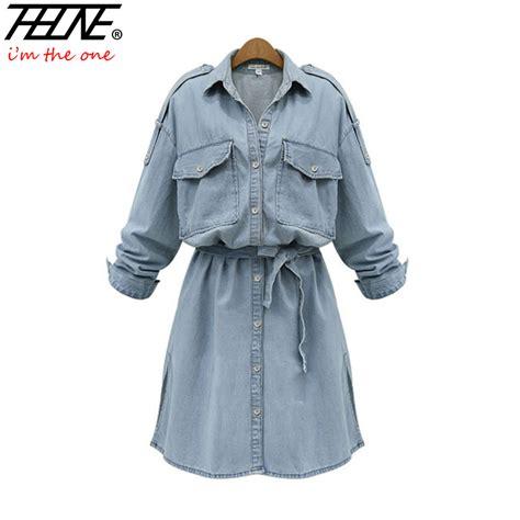 Dress Tunik Denim Free Belt Kemeja Dress Denim i m theone brand plus size denim dress tunic belt sleeve button up fashion casual