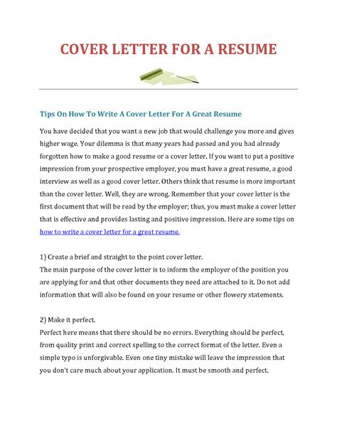how to prepare a cover letter for resume perfect how to