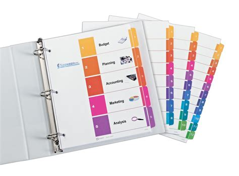 avery 5 tab index template professional ready index dividers organization