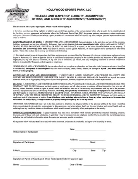Sports Registration Cards Templates With Insurance Liability Fill Online Printable Fillable Sports Waiver Template