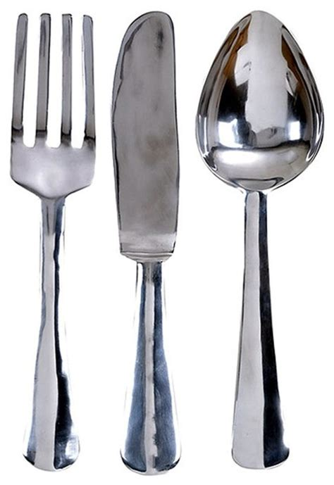 Oversized Spoon And Fork Wall Decor by Oversize Aluminum Silver Fork Knife Spoon Wall Decor