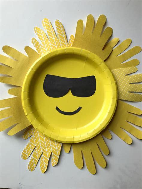 Paper Plate Sun Craft - sun handprint paper plate craft for family focus